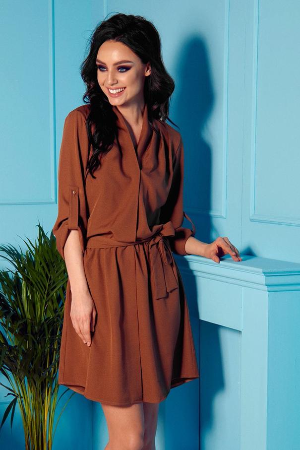 Hnedé midi košeľové šaty