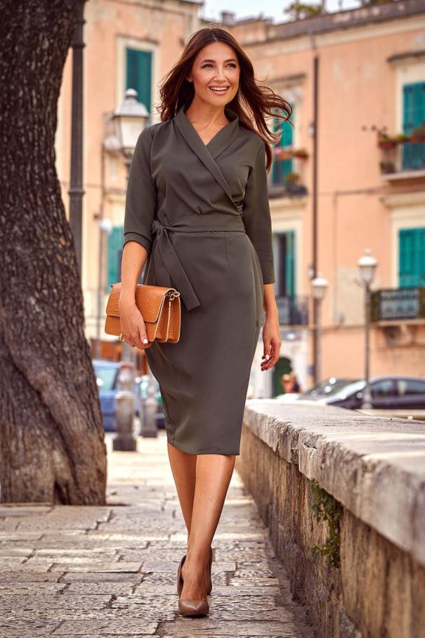 khaki elegantné šaty