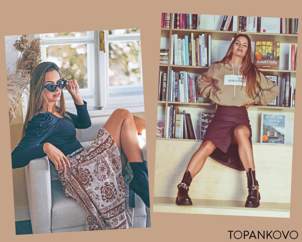 Druhá jesenná outfit inšpirácia - kombinácia sukne a topu, alebo sukne a mikiny.  Trendy vysoké sukne. Oversized mikina.