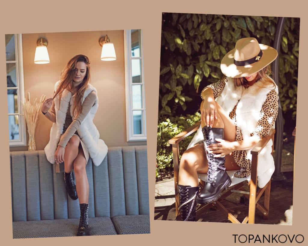 Prvá jesenná outfit inšpirácia - kombinácia šiat s kožušinovou vestou doplnená robustnými topánkami.  Trendy tejto jesene.