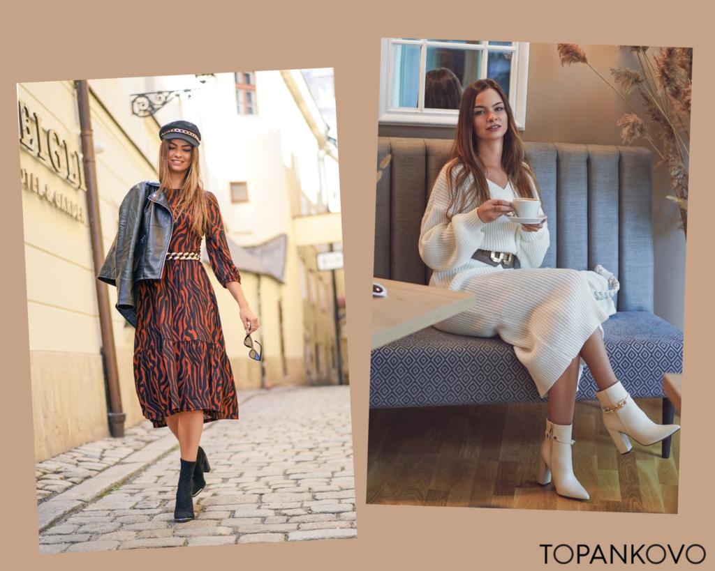 Tretia jesenná outfit inšpirácia - kombinácia šiat s opaskom a koženou bundou. Trendy outfit tejto jesene.