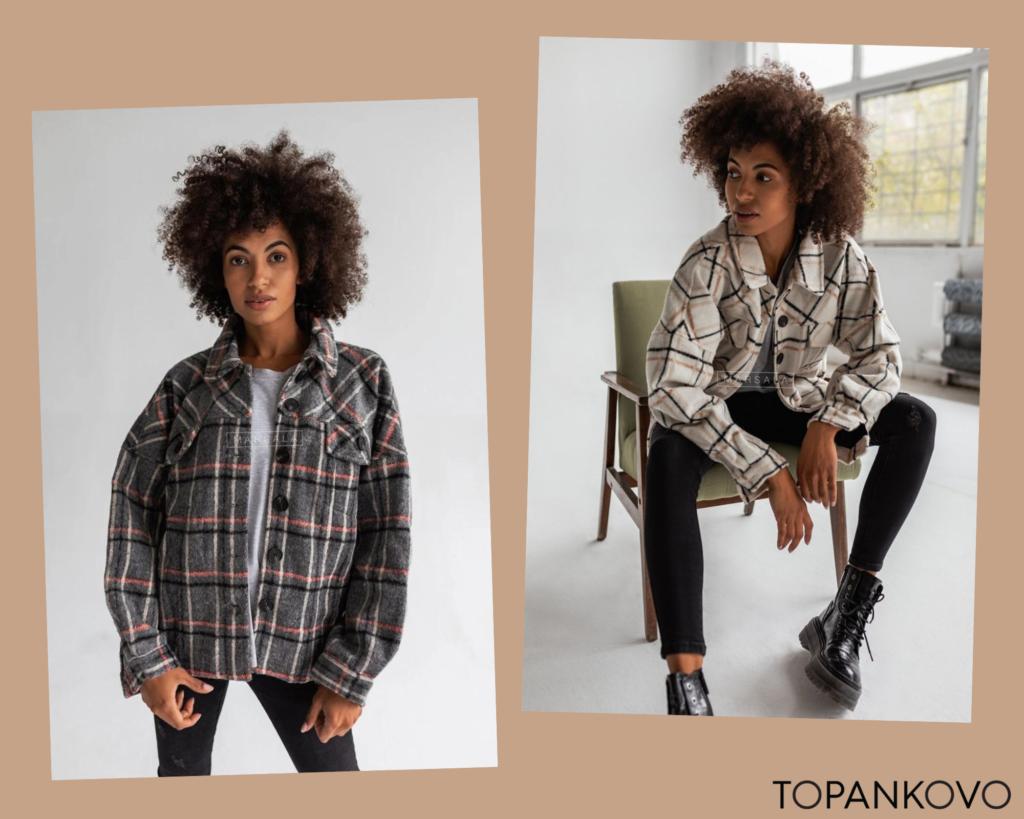 Piata jesenná outfit inšpirácia - kombinácia trendy károvanej bundičky s rifľami. Čižmy na platforme, trendy jesene 2021.